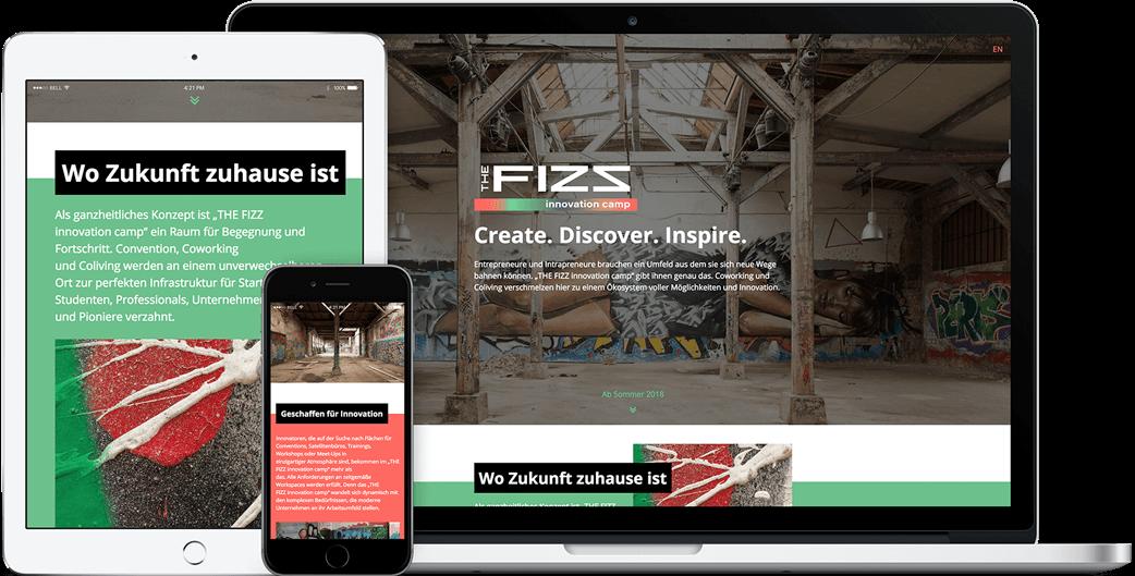 Vorschau der THE FIZZ innovation camp Webseite auf dem iPad, iPhone und MacBook