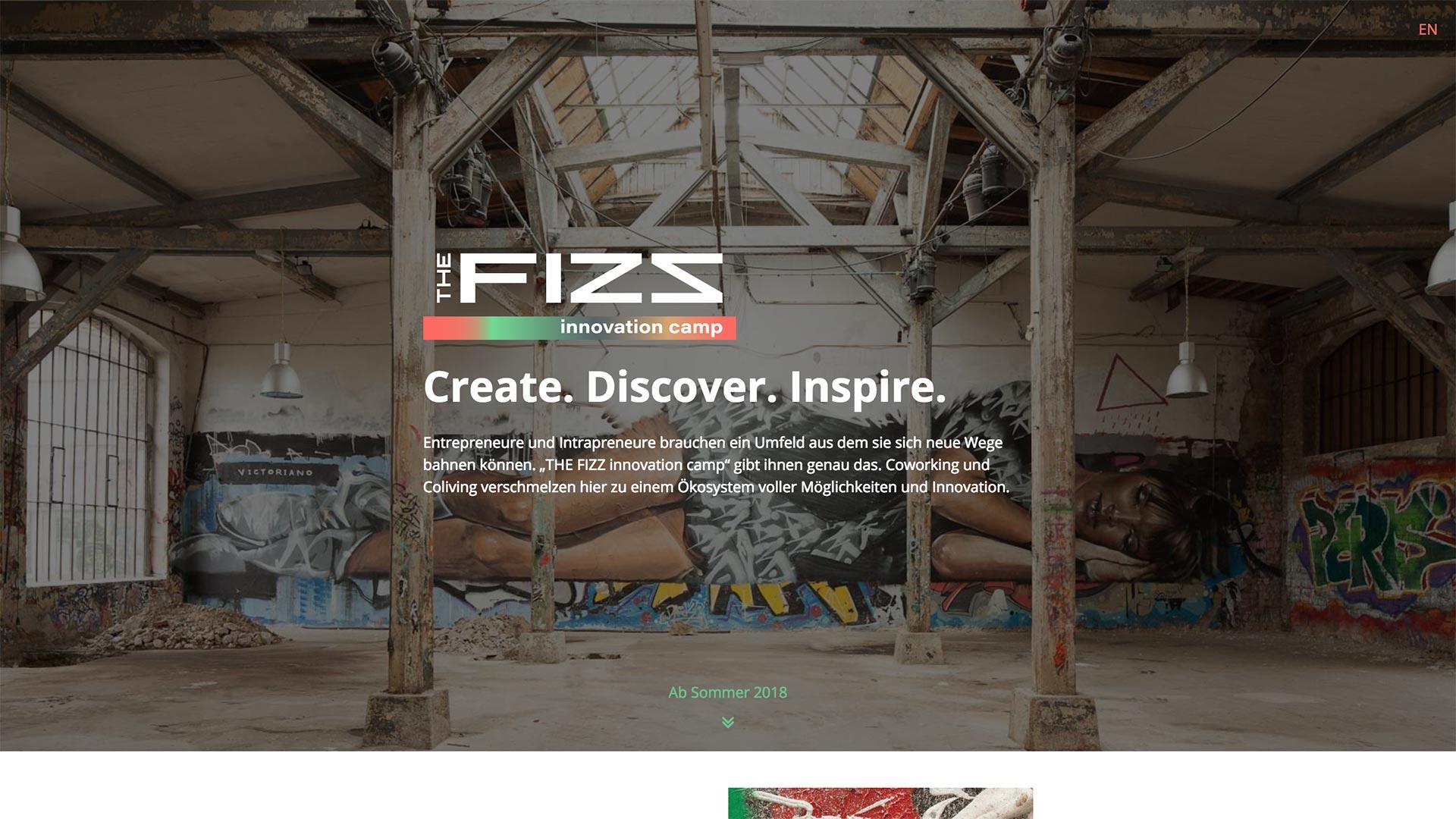 Eröffnungsbild der THE FIZZ innovation camp Webseite