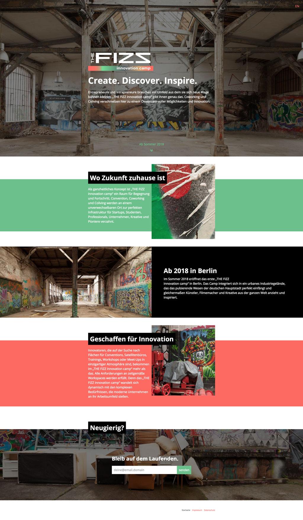 Komplettes Layout der THE FIZZ innovation camp Webseite