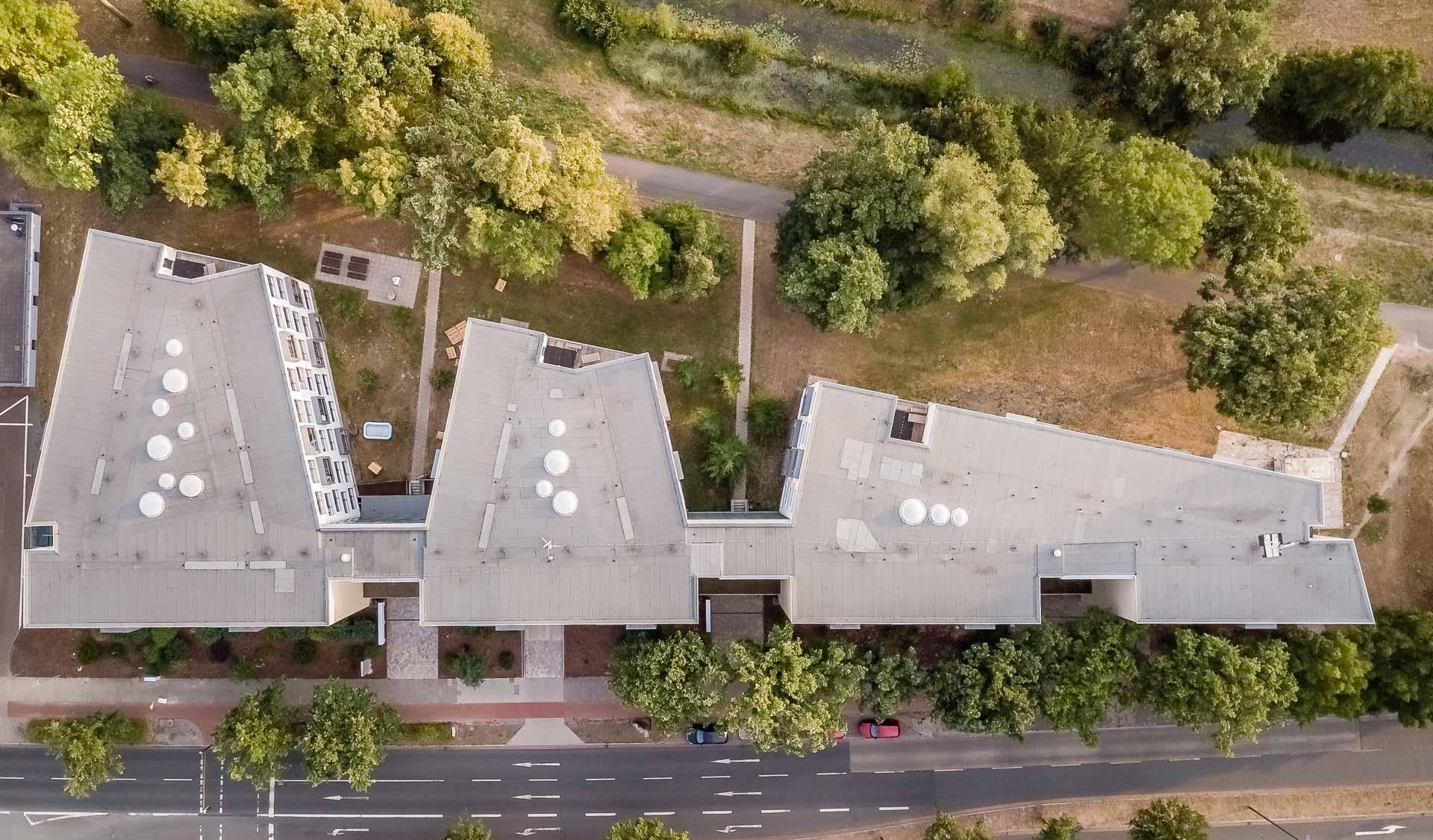 Luftaufnahme des THE FIZZ Bremen Gebäudes Vogelperspektive