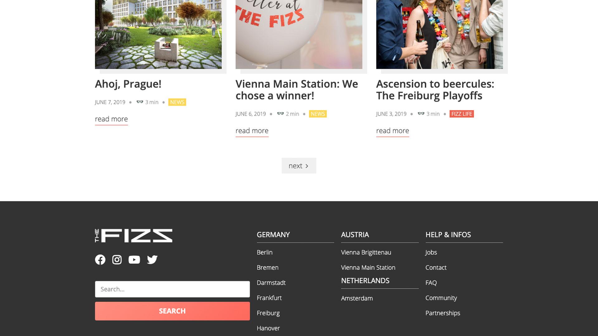 Startseite des THE MAGAZZINE in der Desktopansicht, mit Fokus auf die Suchleiste im Footer