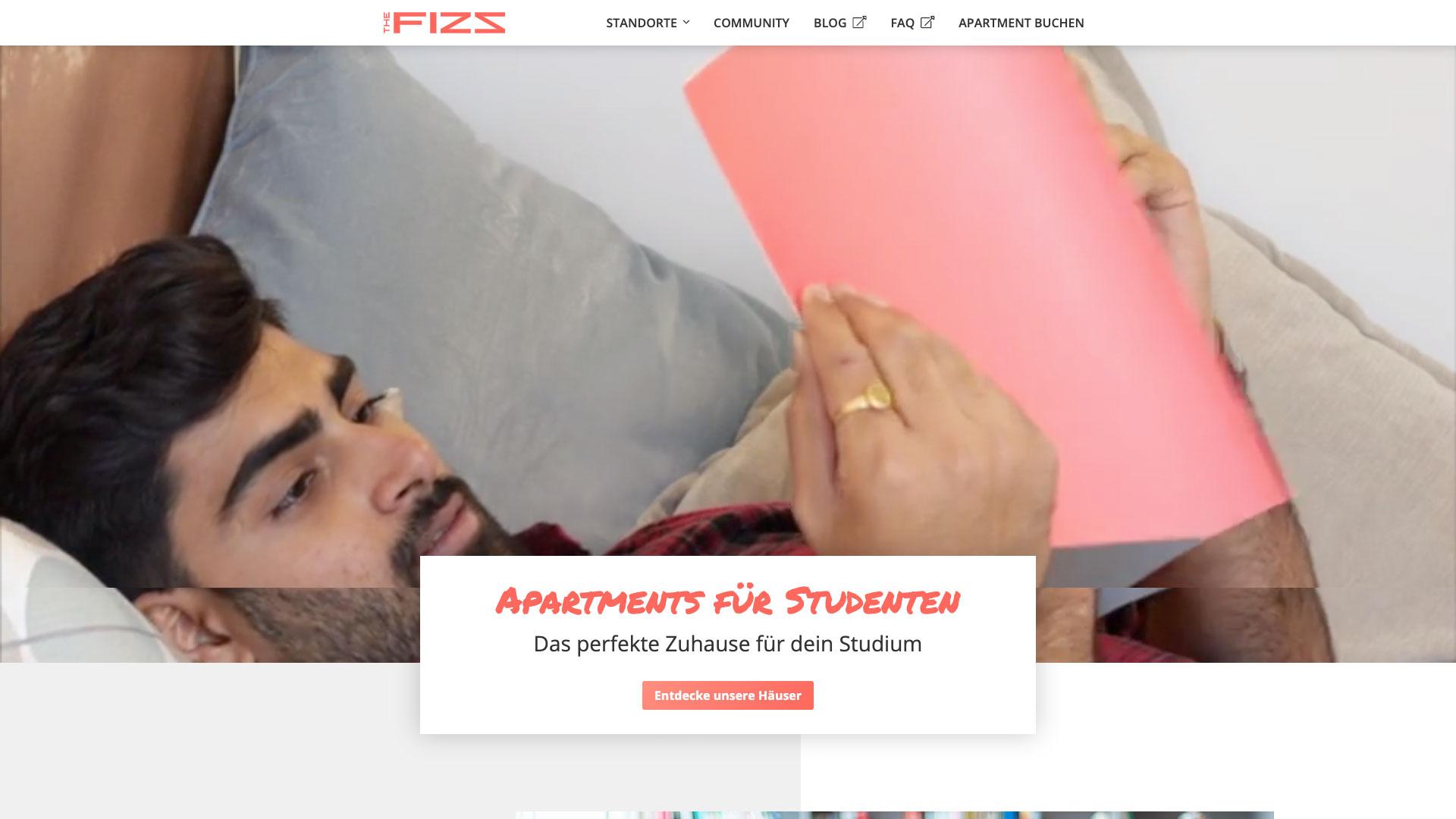 THE FIZZ Startseite in der Desktopansicht Fokus auf den Headbereich