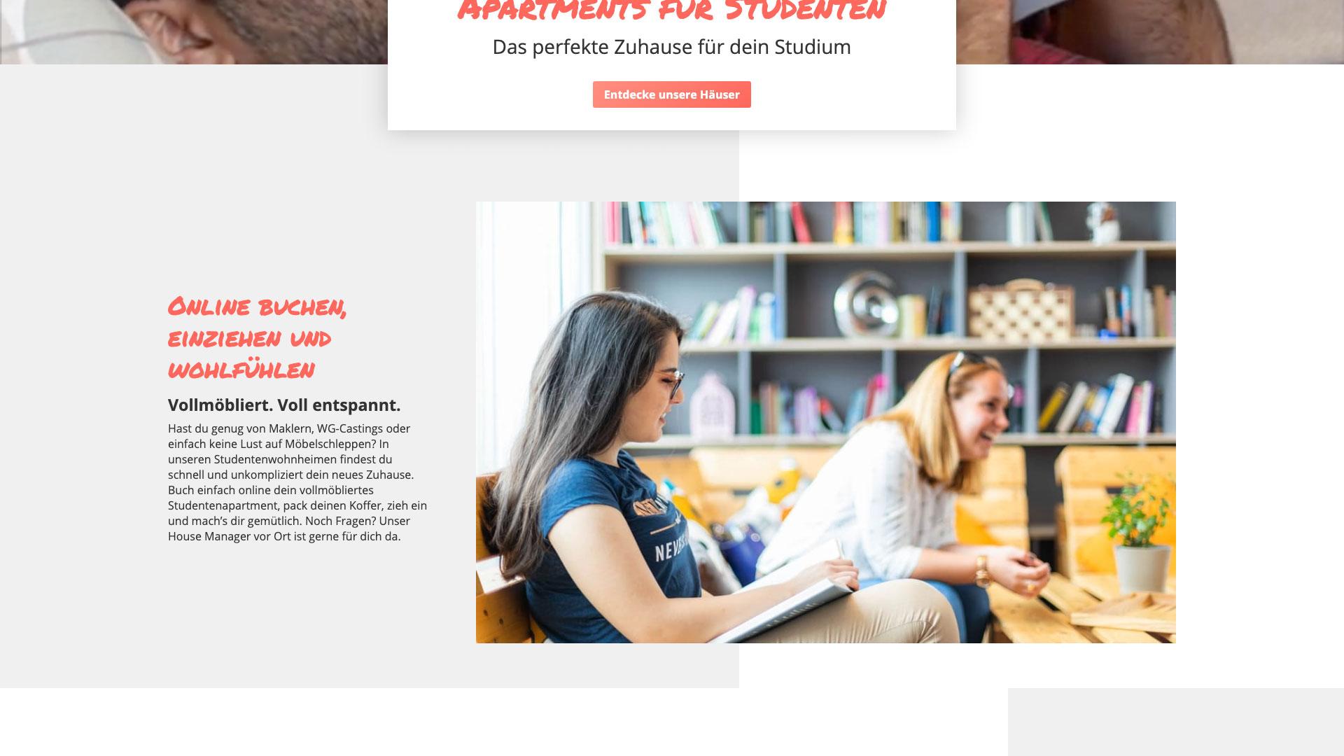 THE FIZZ Startseite in der Desktopansicht Fokus auf Contentbereich