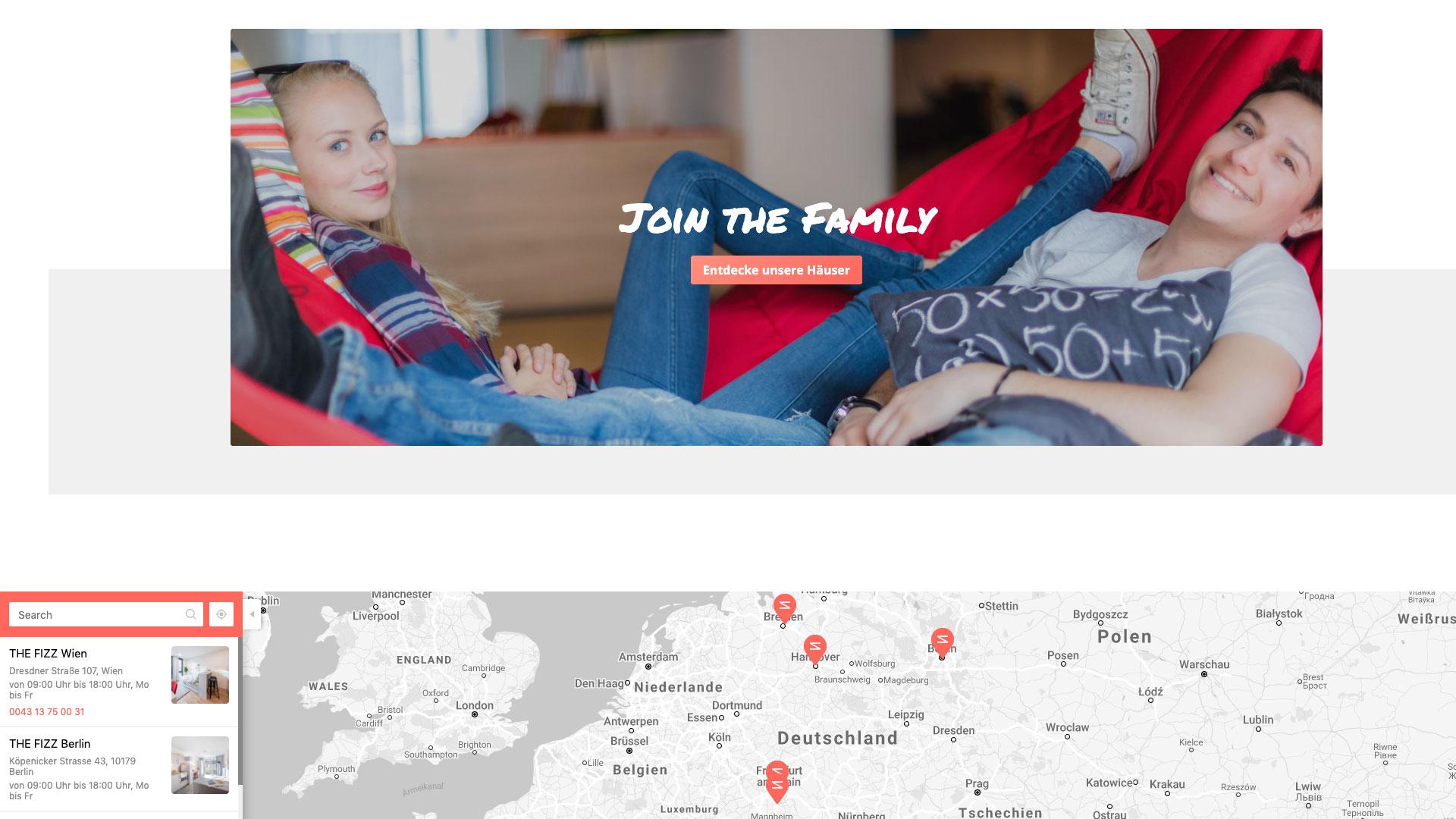 THE FIZZ Startseite in der Desktopansicht Fokus auf Standortkarte