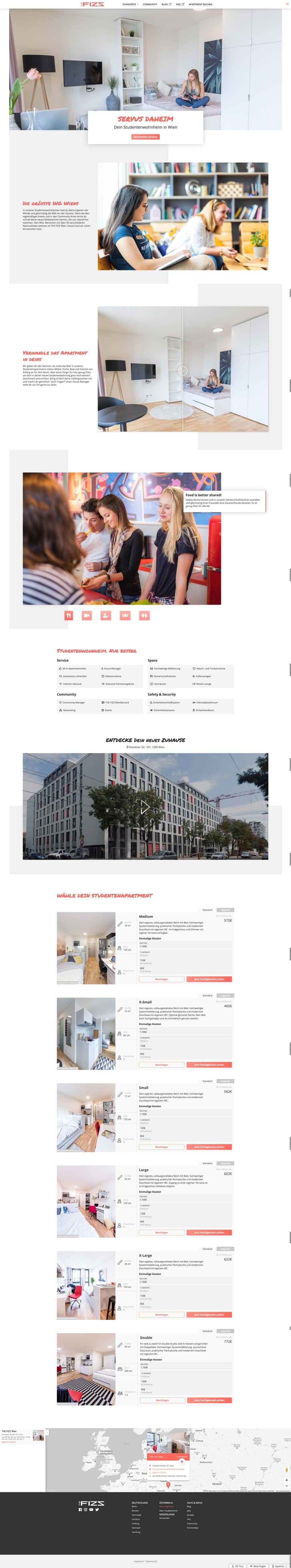 Komplettes Layout einer Standortseite von THE FIZZ in der Desktopansicht