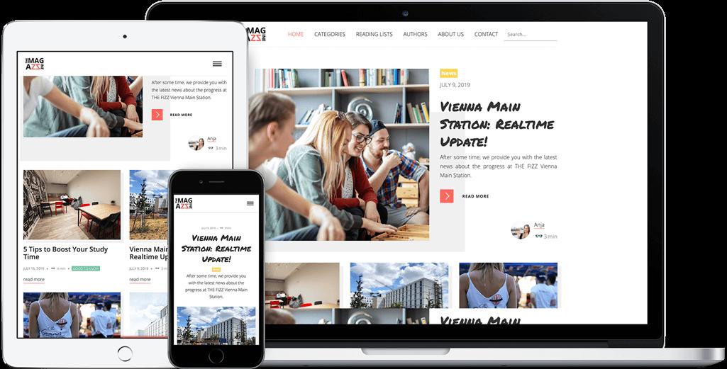Vorschau der THE MAGAZZINE Webseite auf dem iPad, iPhone und MacBook