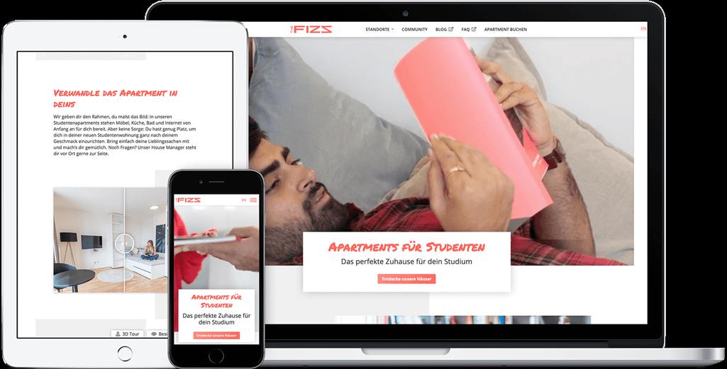 Vorschau der THE FIZZ 2.0 Webseite auf dem iPad, iPhone und MacBook
