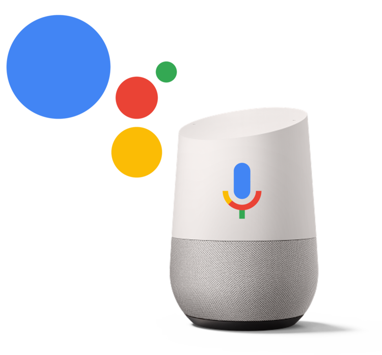 Google Home Assistant - white and grey speaker