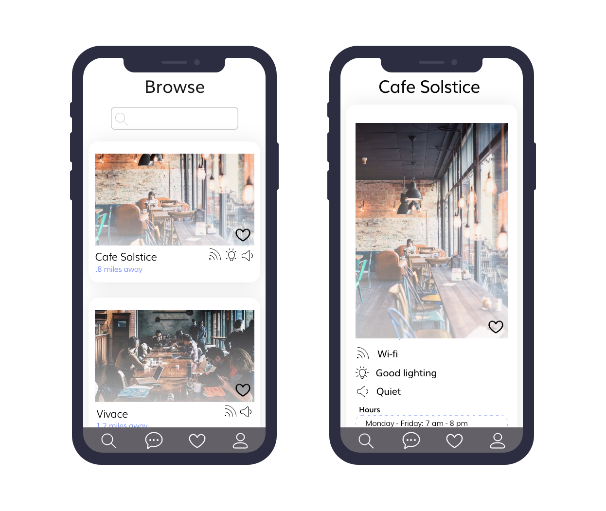Two iphone screens showing a coffee shop with preferences highlighted