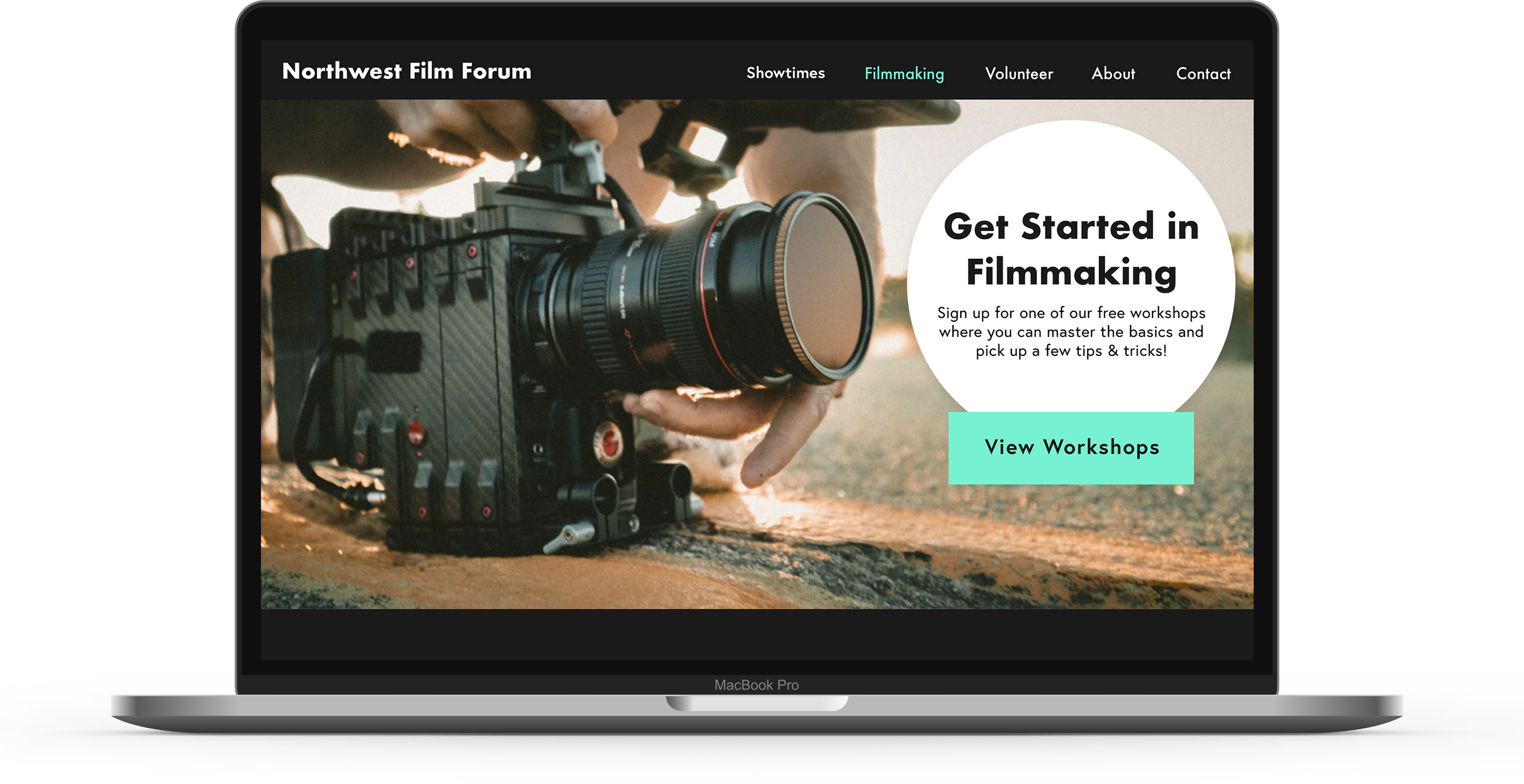 A laptop displaying a new version of the Northwest Film Forum website, showing a person setting up their camera to film