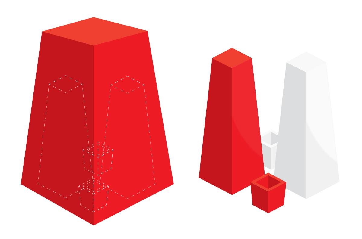 Wireframe 3D de embalagem para Azuma Kirin