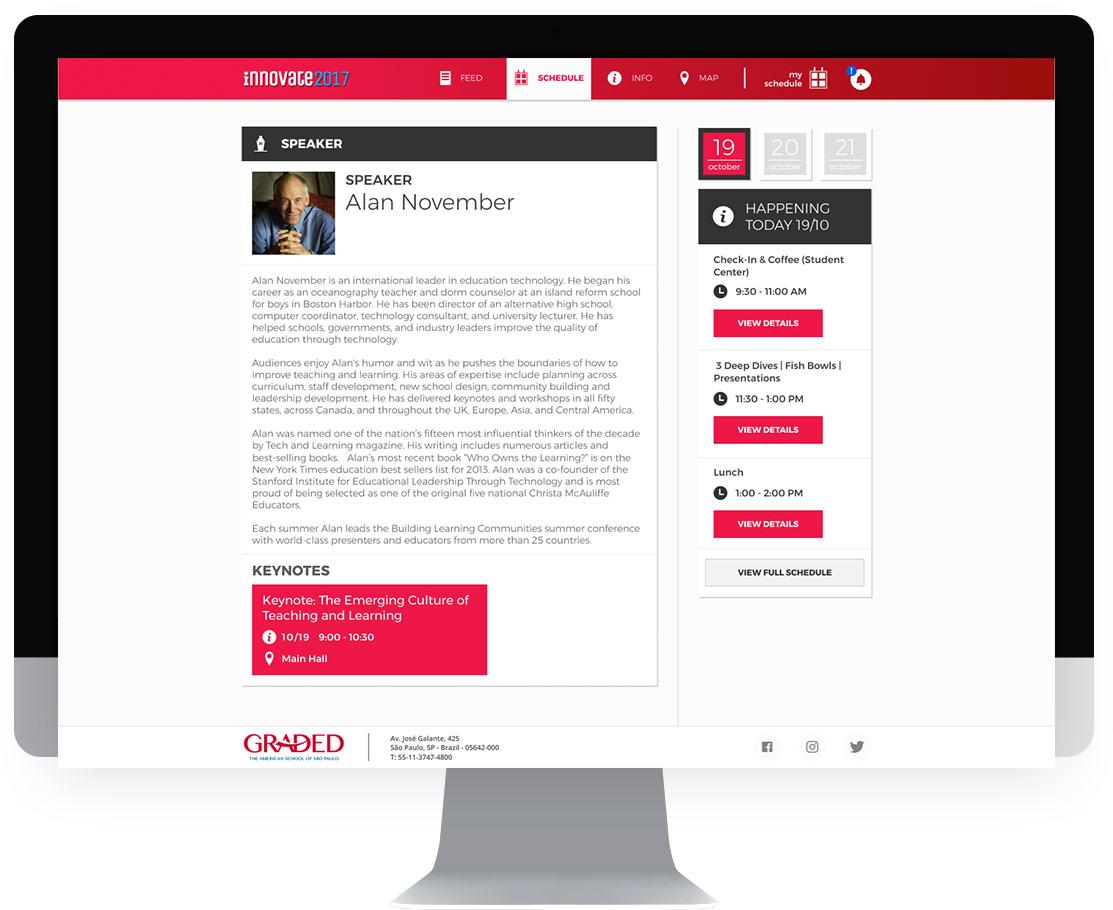 Tela palestrante site do evento Innovate