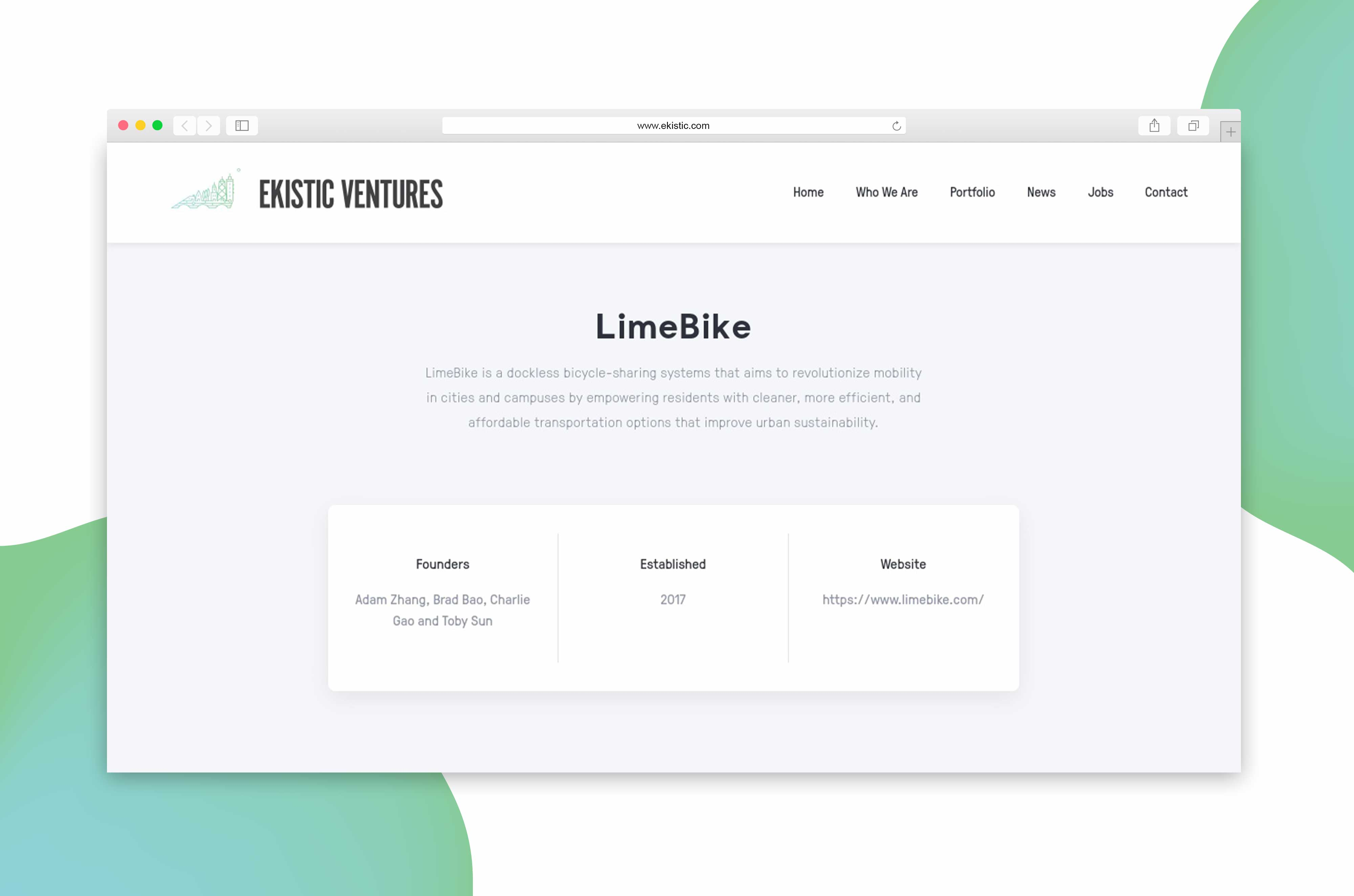 Ekistic Ventures portfolio company website design