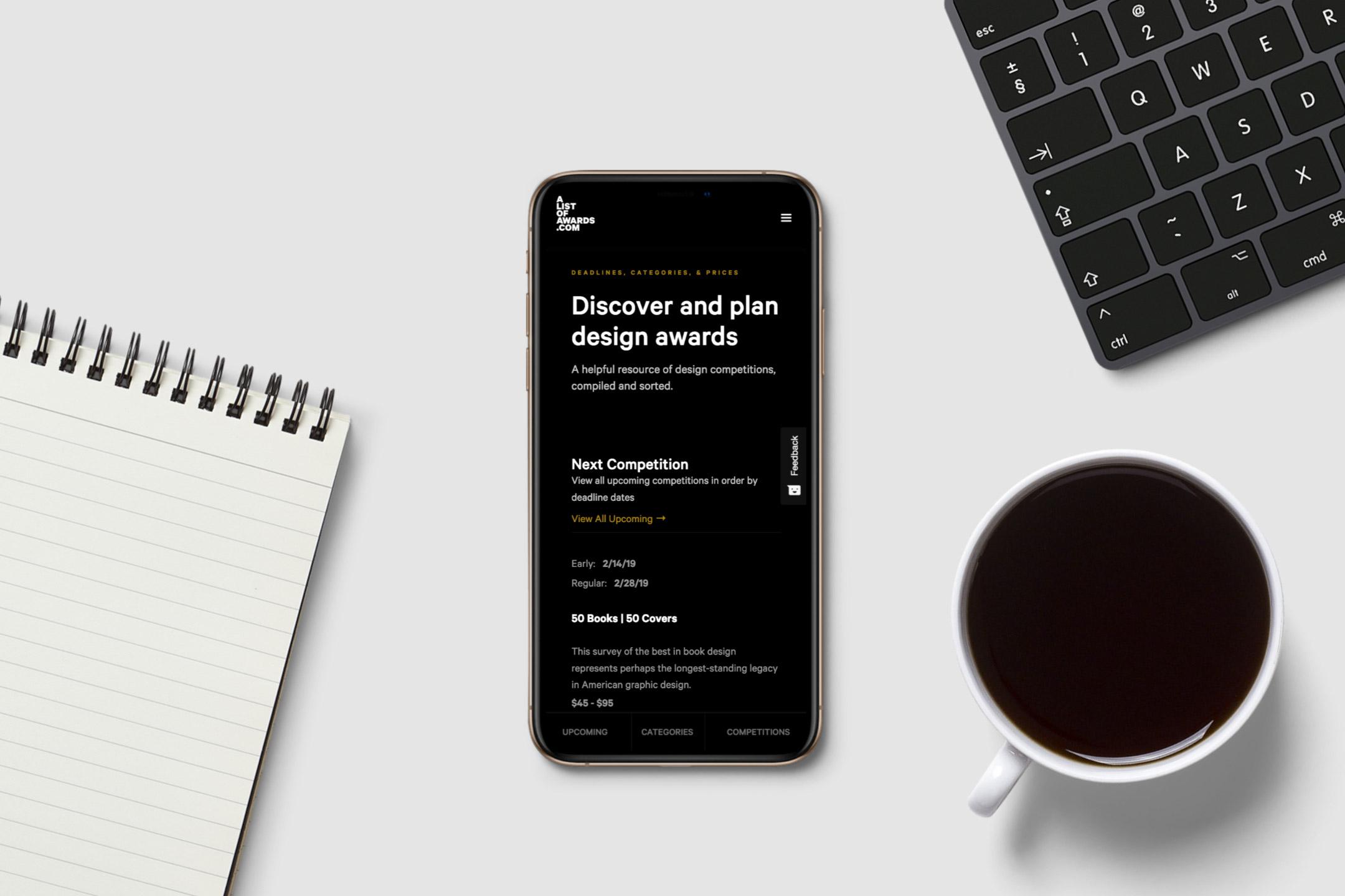 Alistofawards.com mobile website design showing homepage