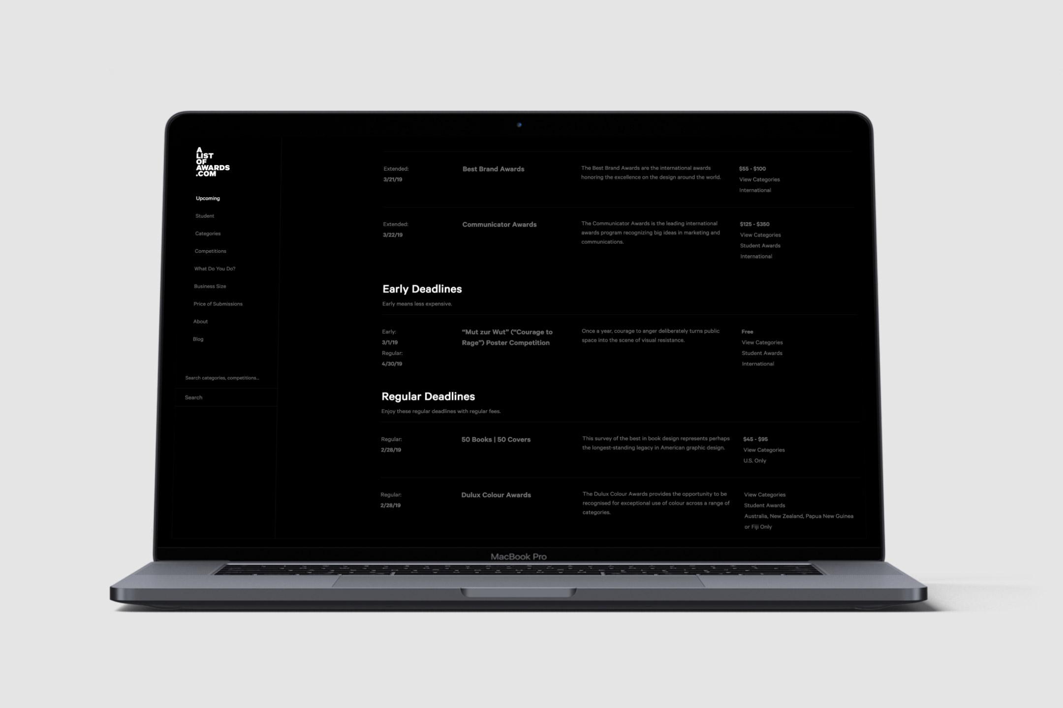 alistofawards.com website design for startup