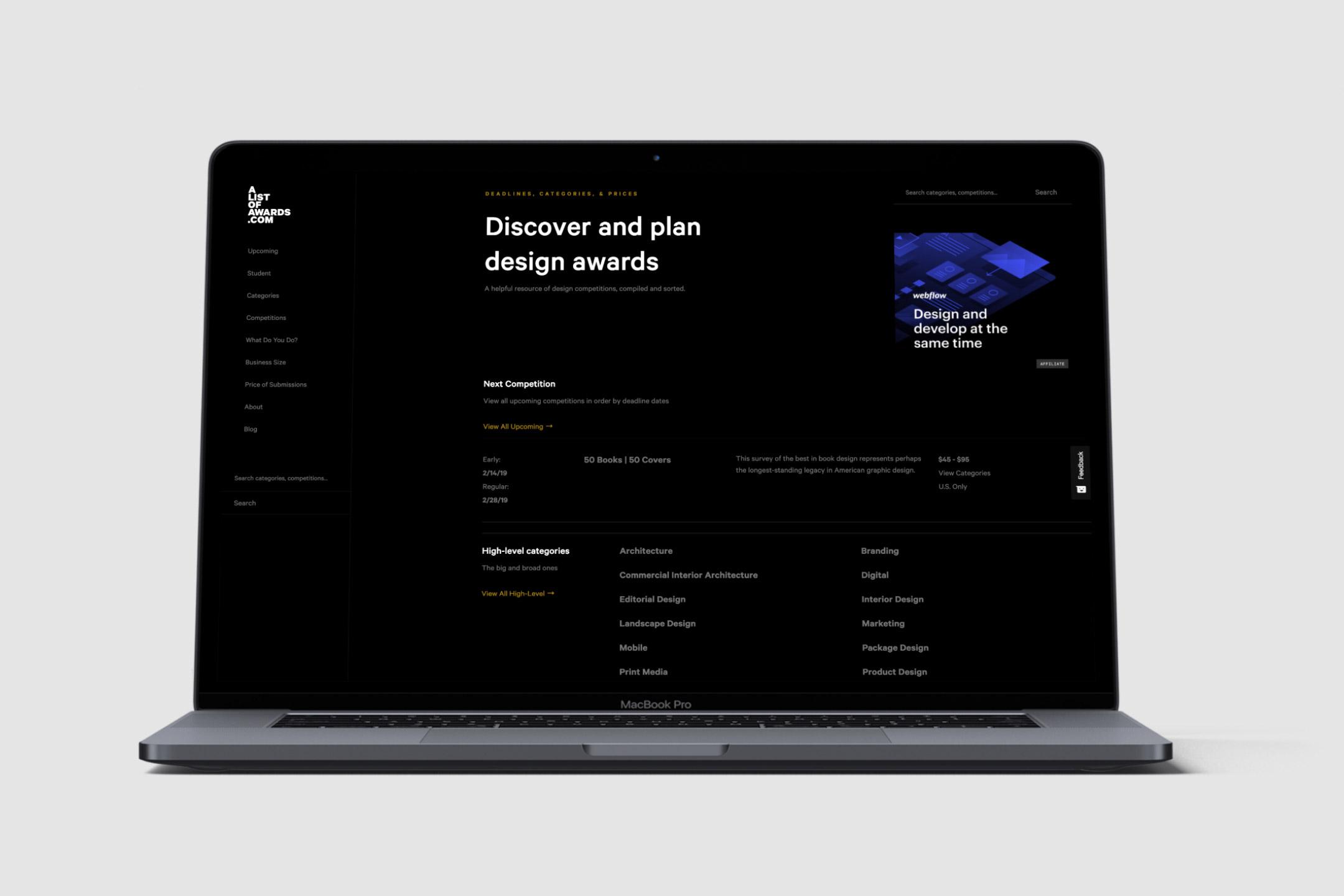 alistofawards.com website design for startup showing home page