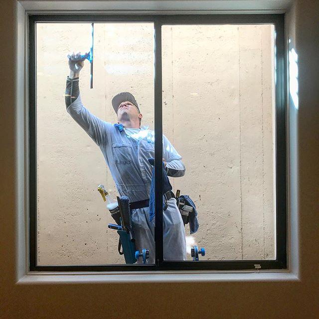 window cleaning in progress