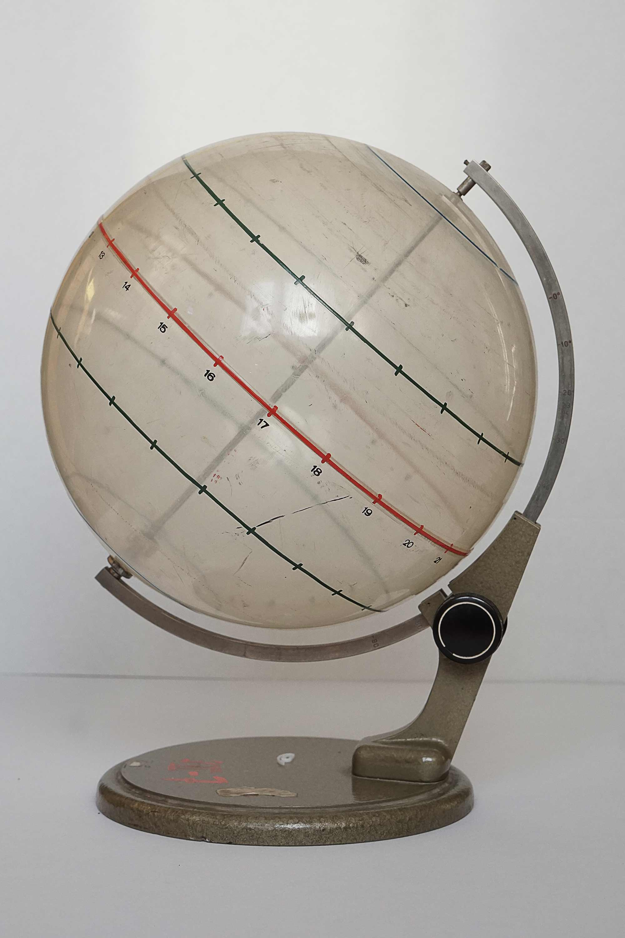 Unique tiltable educative glass model of earth for science lessons made in 1950's