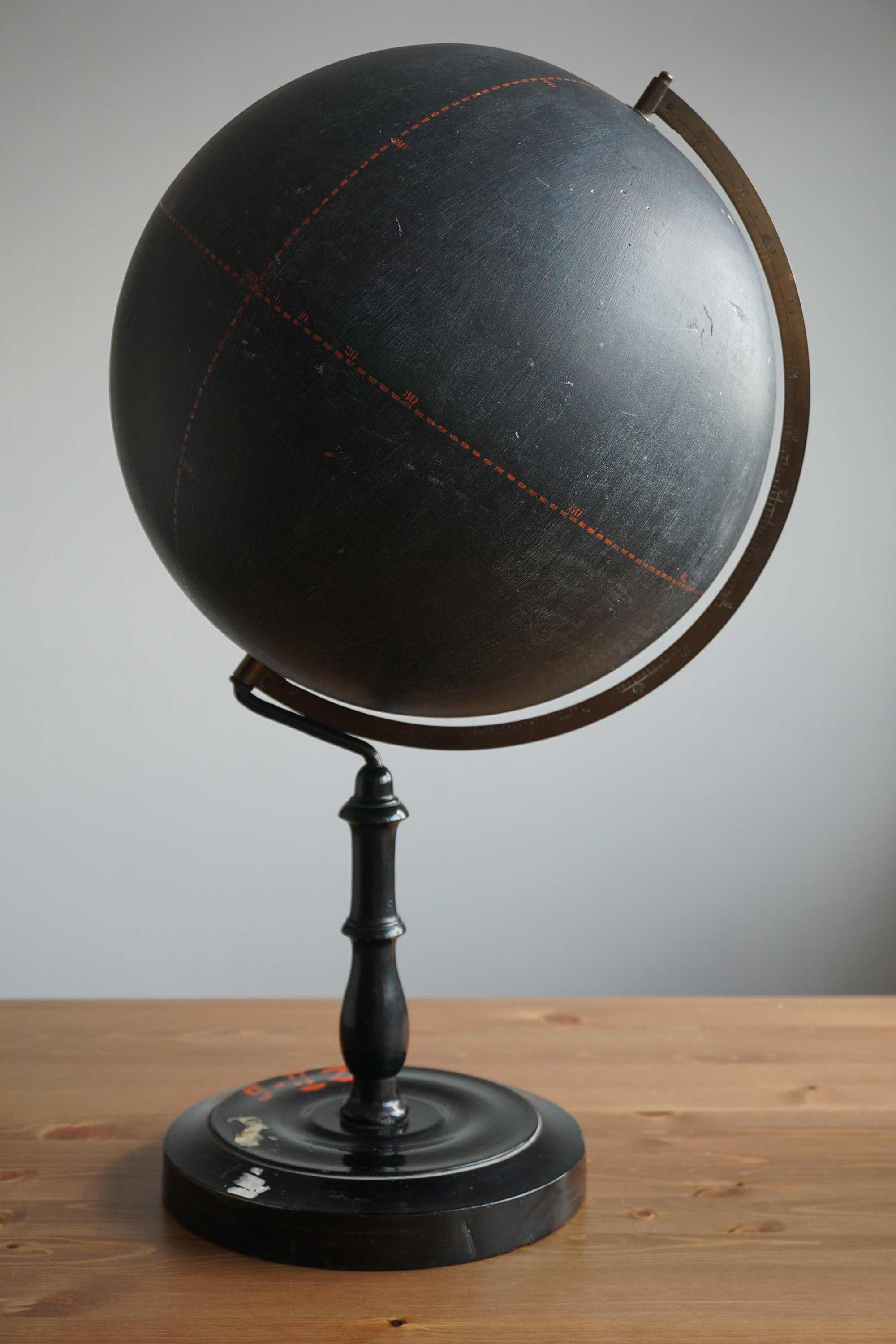 Interesting early 20th century slate surface teaching globe
