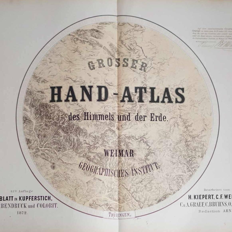 Beautifully engraved title page from Grosser Handatlas der Erde und des Himmels