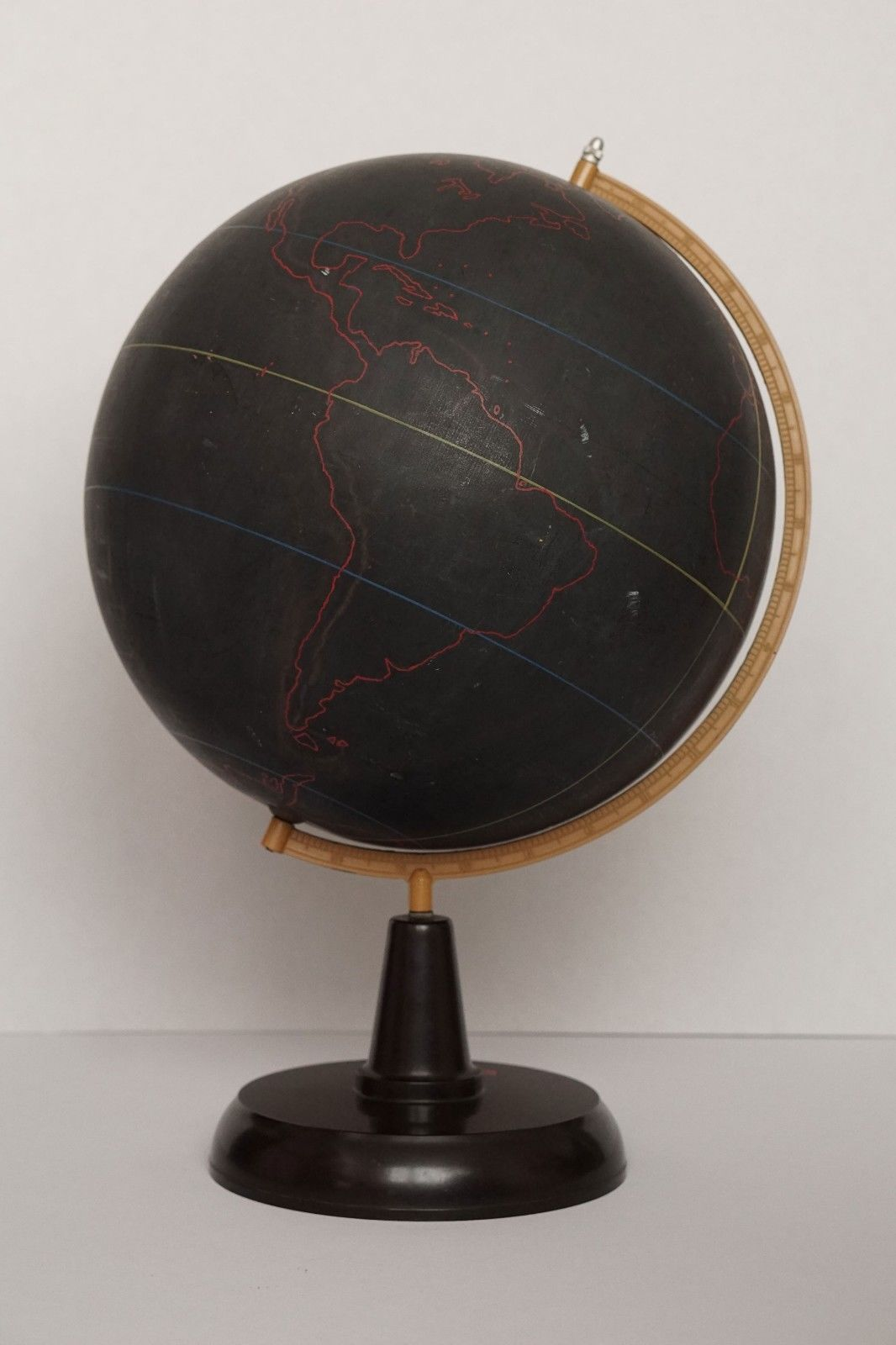 Rare black slate teaching globe from the 50's
