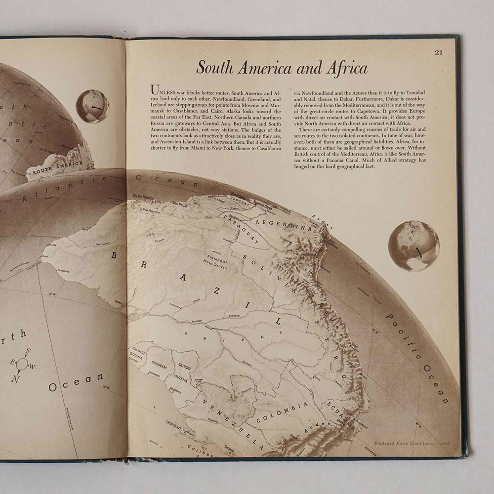 "Satelite like view of South America from the ""Look at the World! by Richard Edes Harrison"