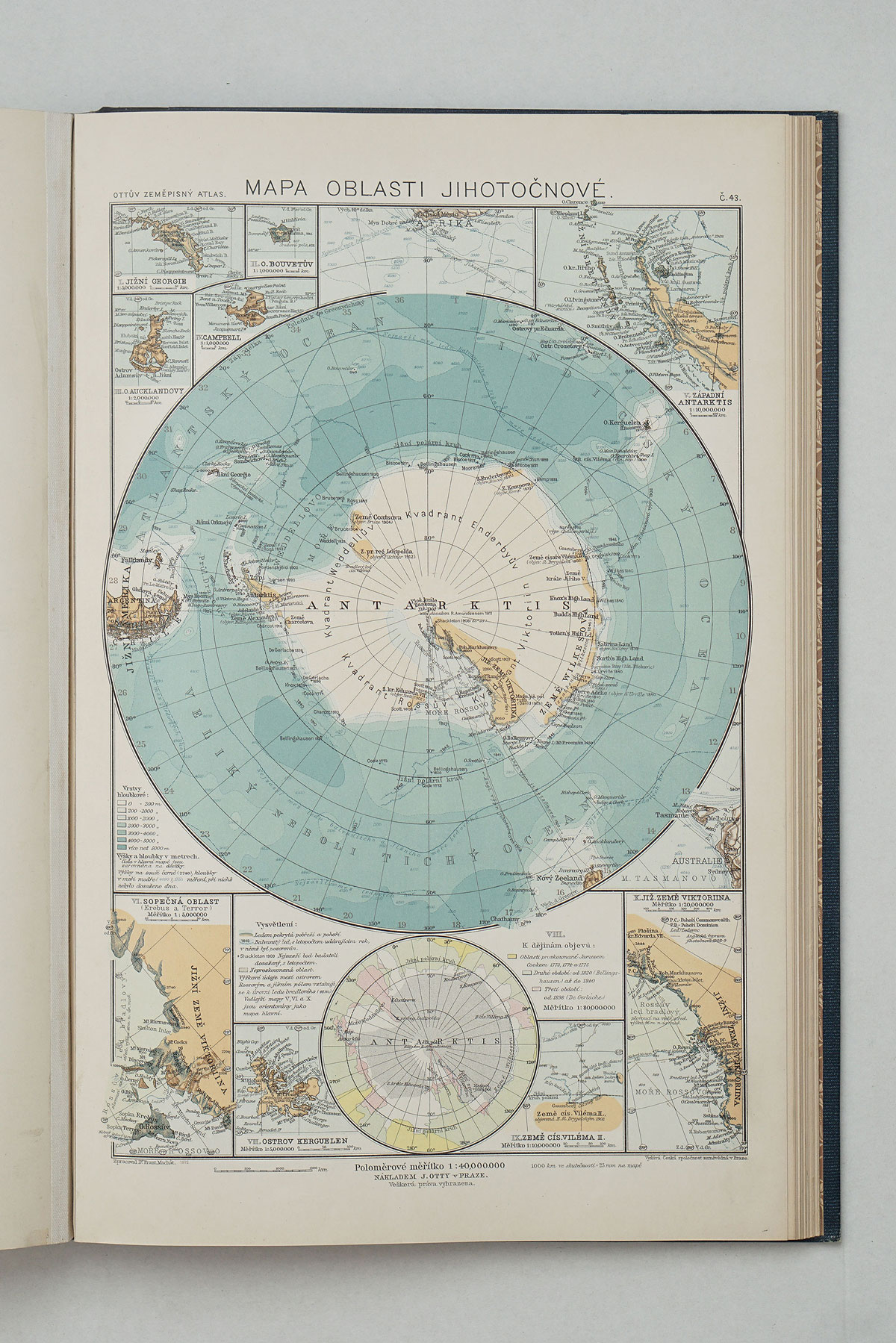 South Pole map from Ottuv Zemepisny Atlas  - 1924