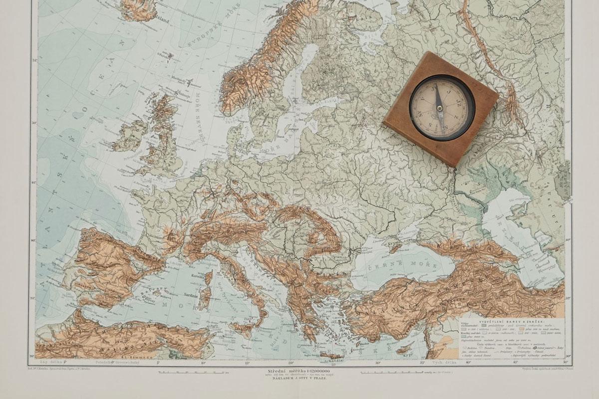 Physical map of Europe from Ottuv Zemepisny Atlas