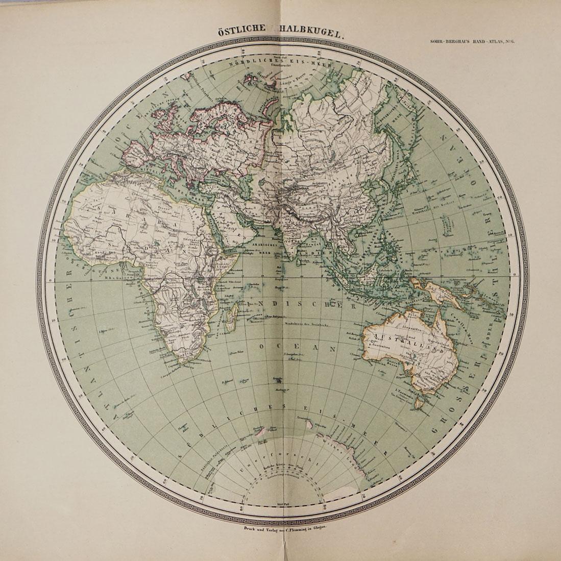 Eastern hemisphere map from 1988 in Sohr Berghaus Handatlas