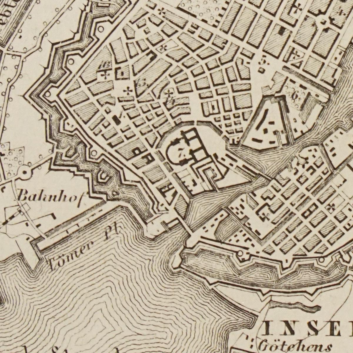 "Plan of Copenhagen from Kieperts ""Grosser Handatlas der Erde und des Himmels"" side map dated 1872"