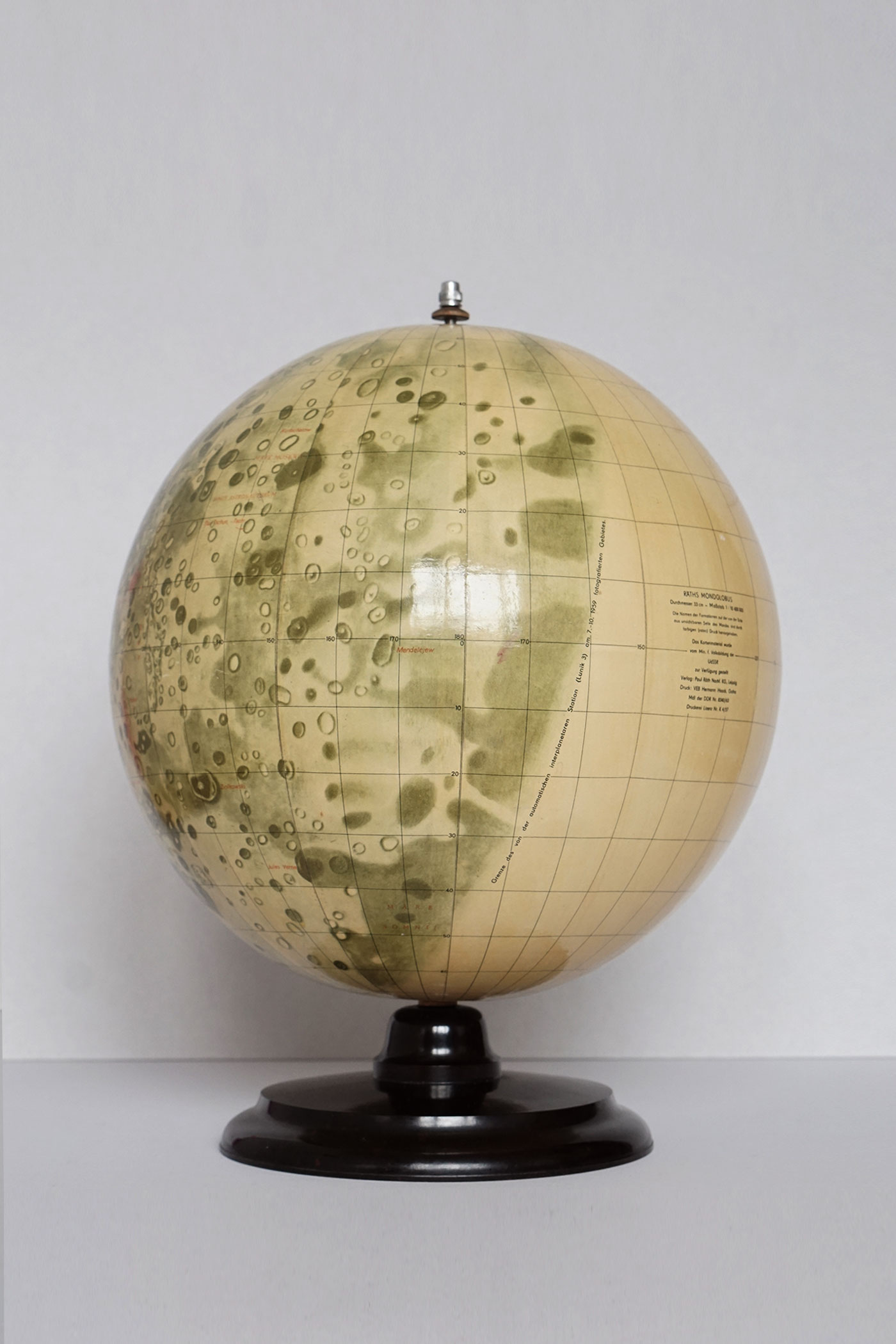 The first Moon globe displaying the Far side of the Moon