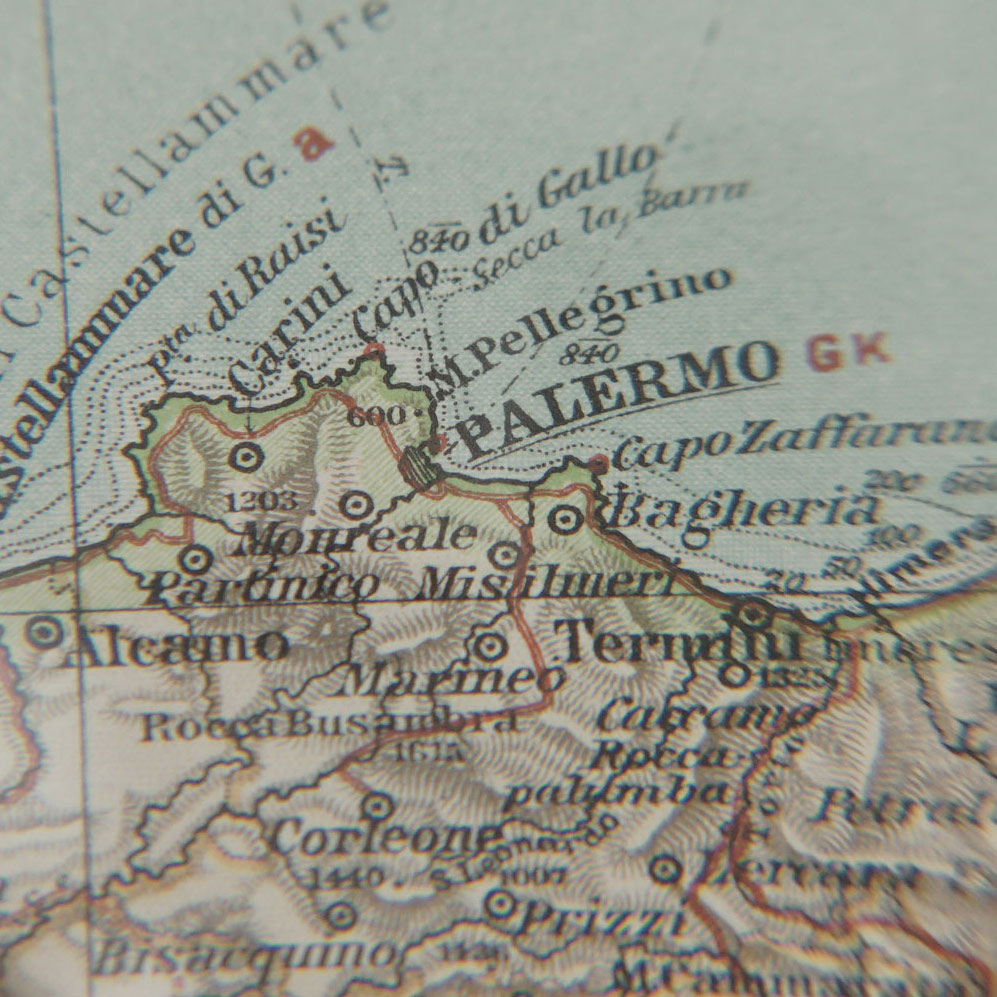 Close up of Sicily north coast from Ottuv Zemepisny Atlas