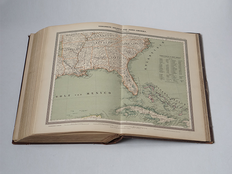 Southeast USA and Cuba map from Sohr Berghaus Handatlas - 1888