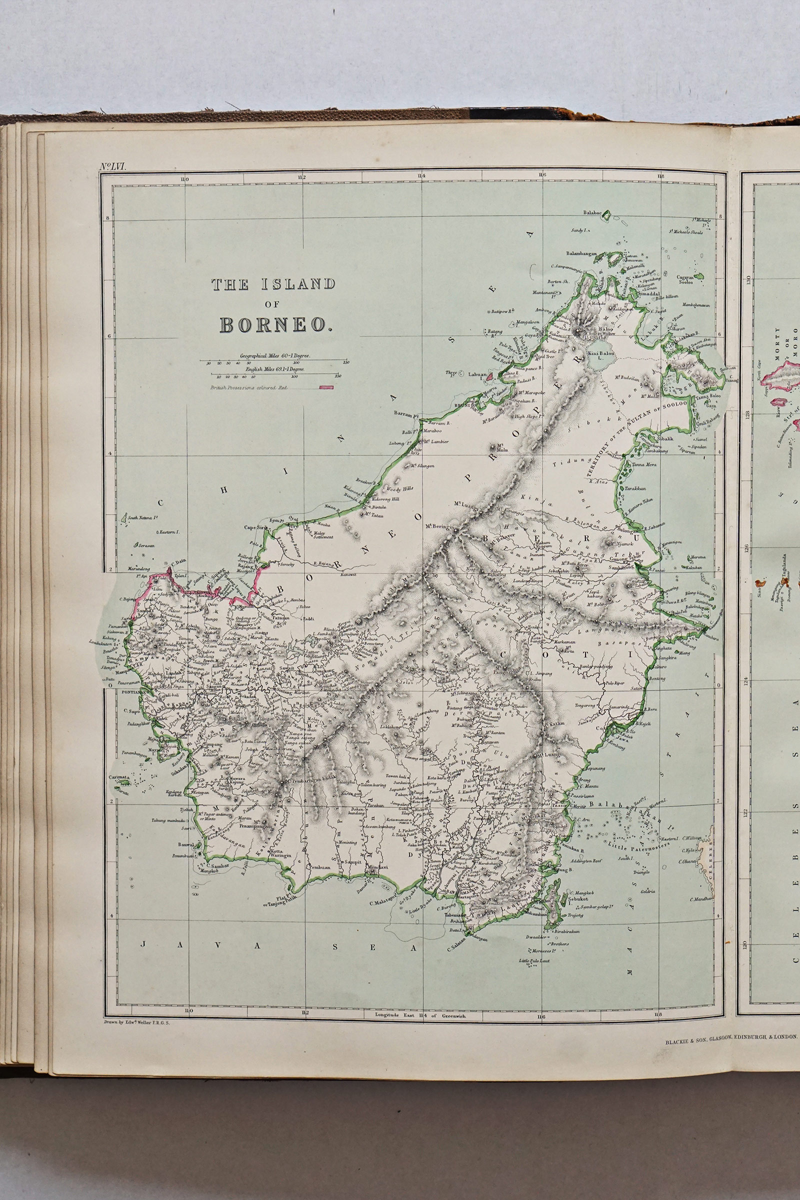 Map of Borneo from Imperial Atlas of Modern Geography - 1872