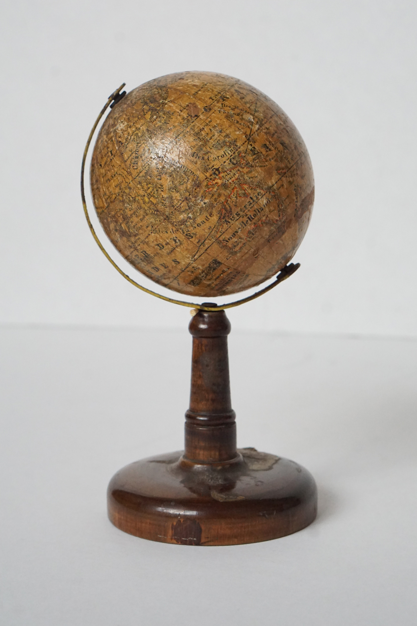Extraordinary Abel Klinger Small Globe on Wooden Stand