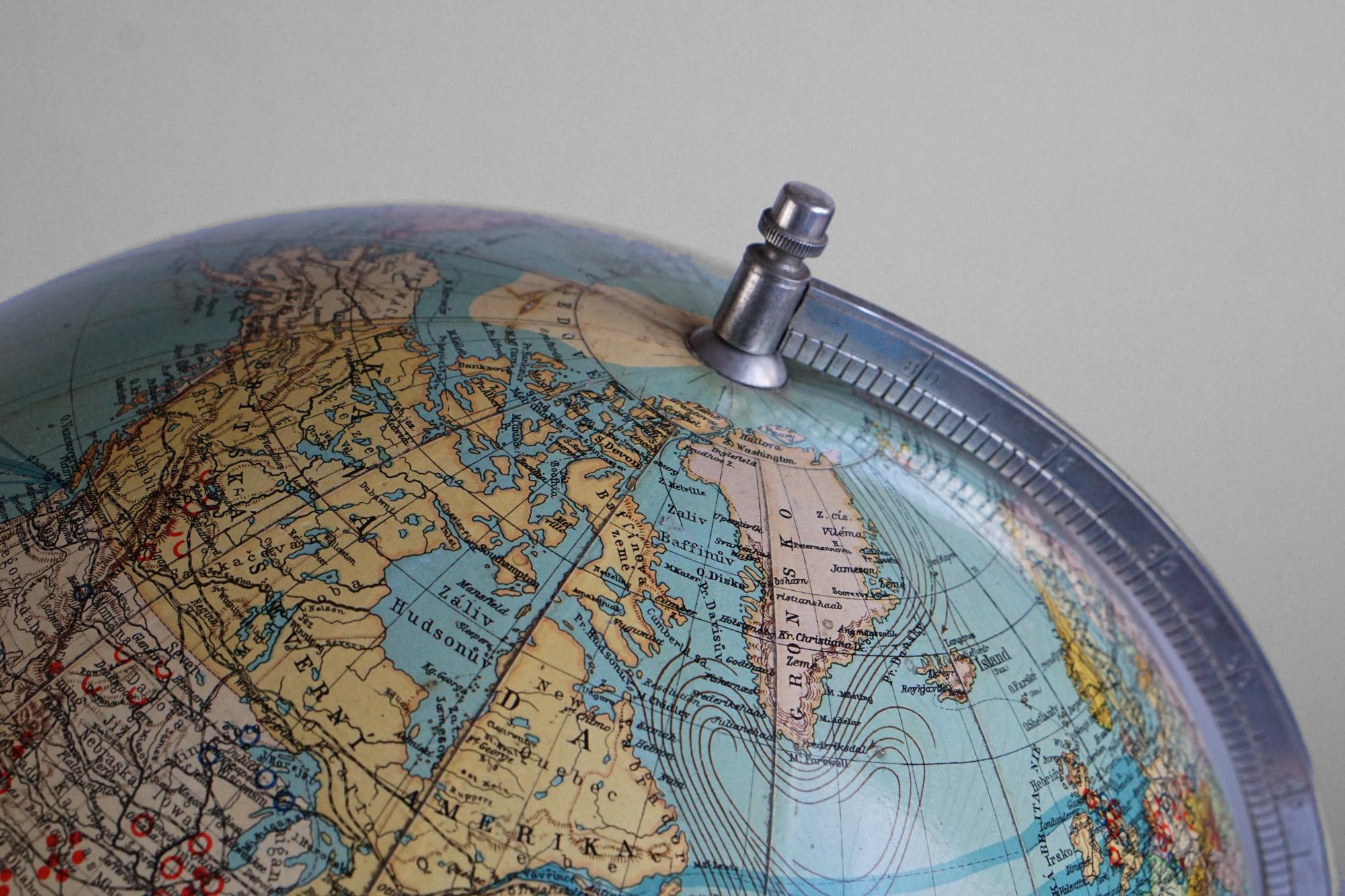 Rare Czechoslovakian Globe by Buchsbaum