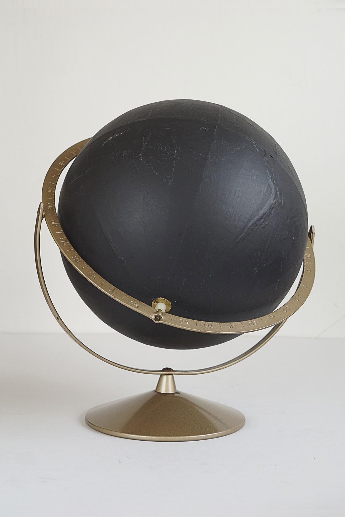 Original Vintage Black Painted Relief Globe
