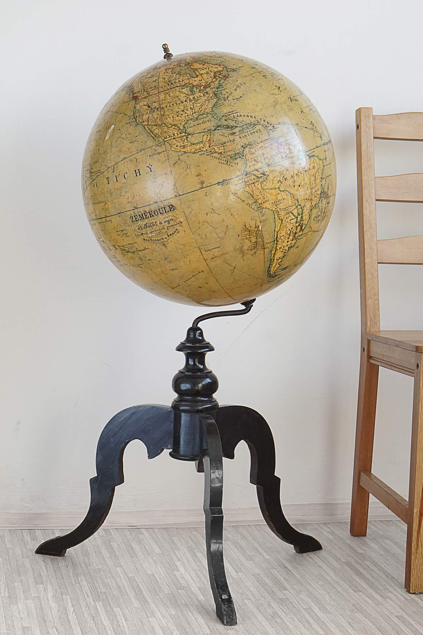 Large 19th Century Felkl & Son Globe on Tripod