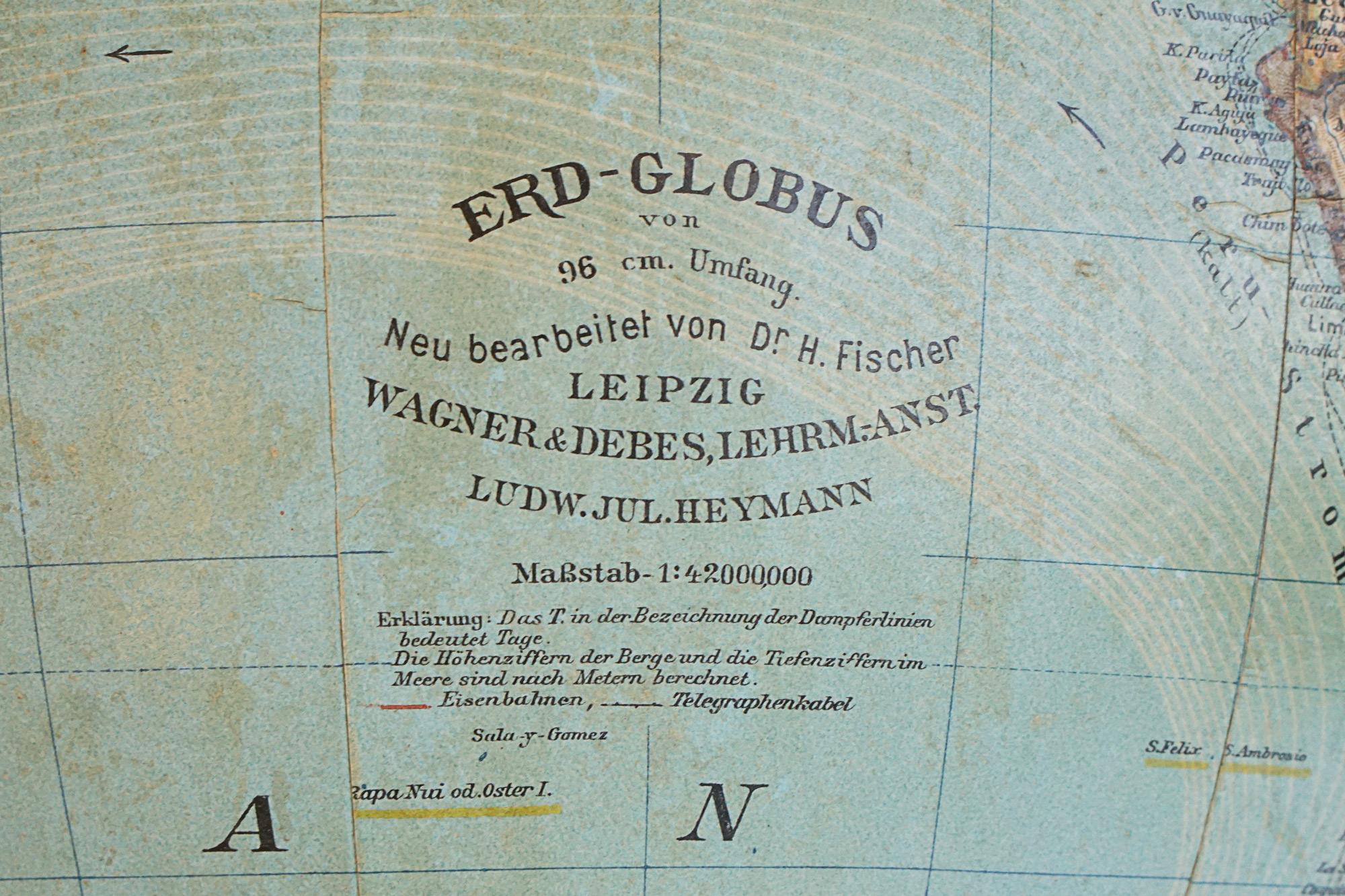 Antique Erd-Globus by Heymann, Leipzig