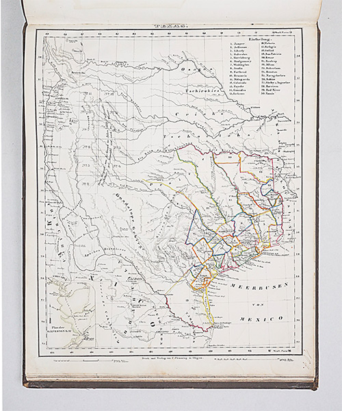 German Map of Texas from Vollstandiger Universal-Handatlas