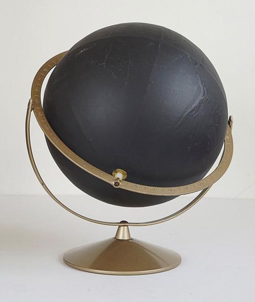 Unusual Black Painted Relief Globe