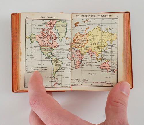 Knowledge in a Nutshell - antique pocket atlas and encyclopedia
