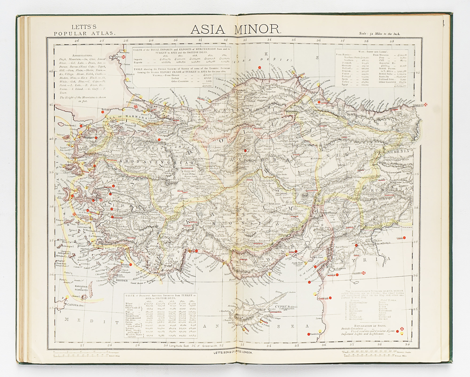Letts's Popular Atlas - Foreign