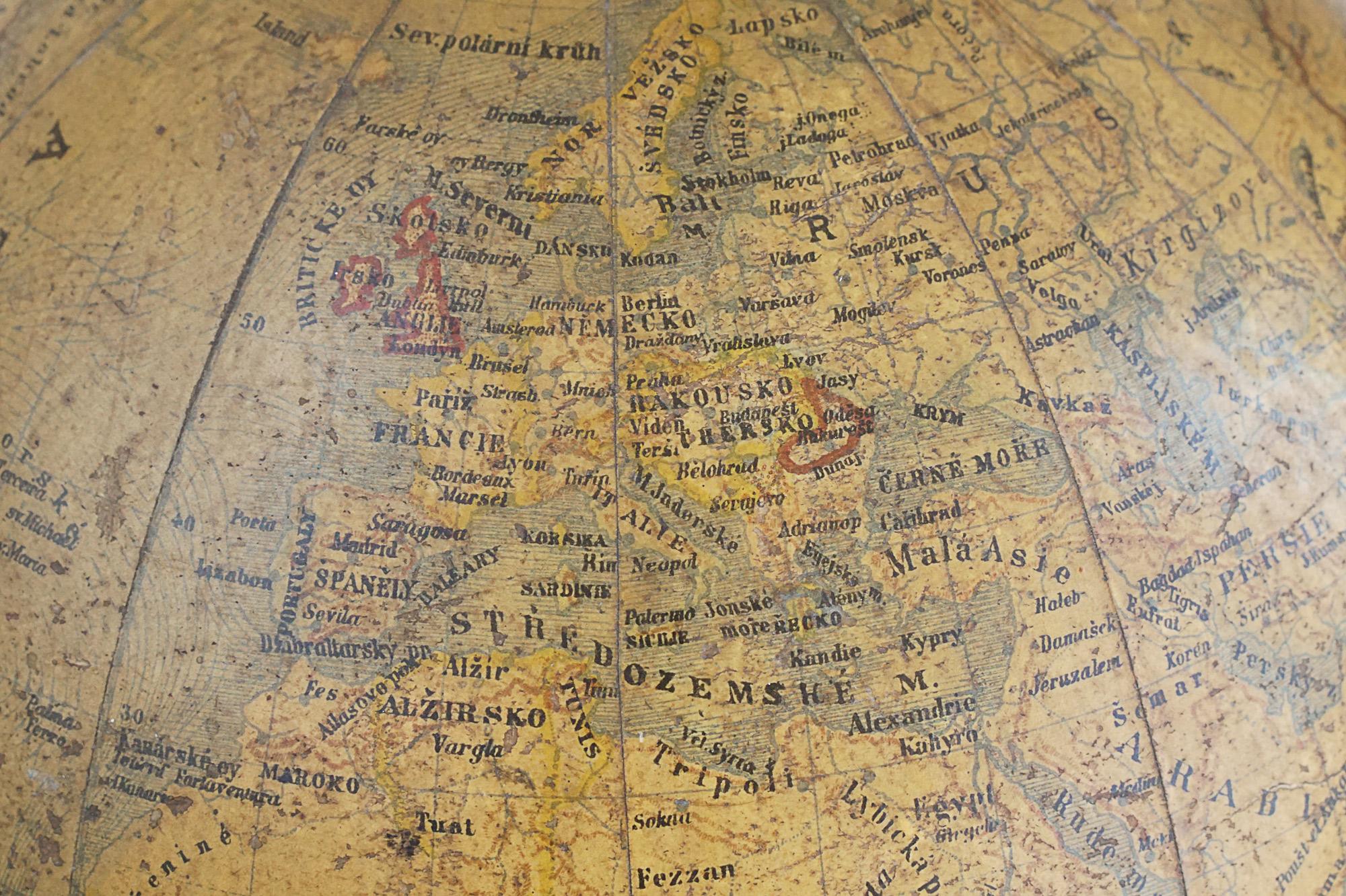 19th century Antique Terrestrial School Globe by Felkl & Son