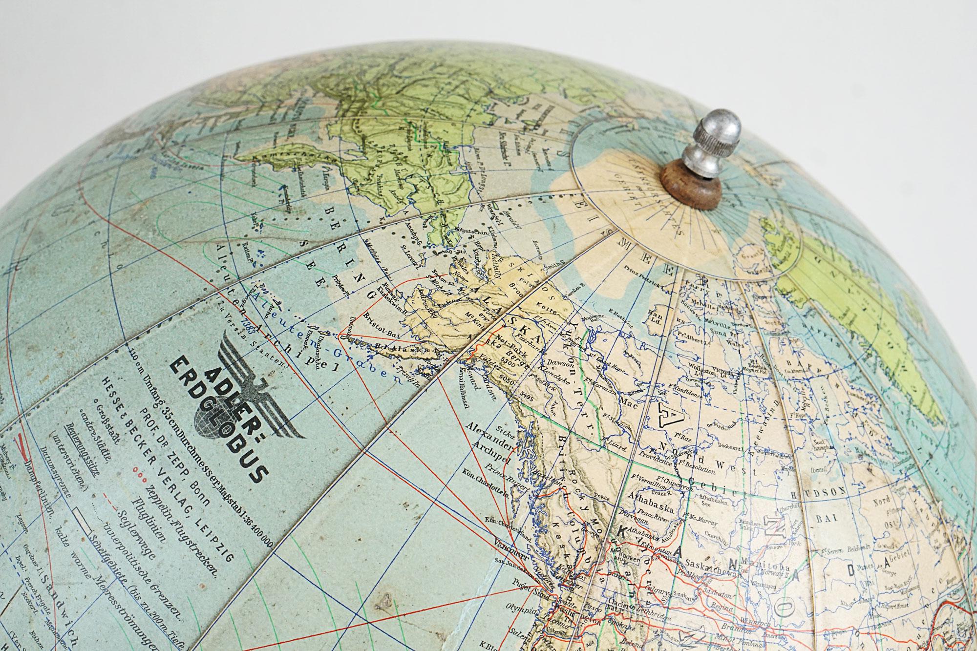 Rare German Adler-Erdglobus Globe