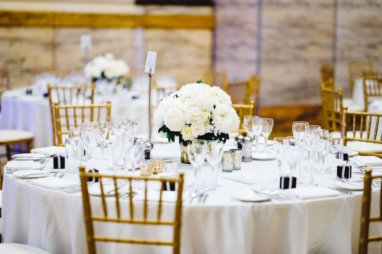 One Great George Street White Wedding Centrepiece