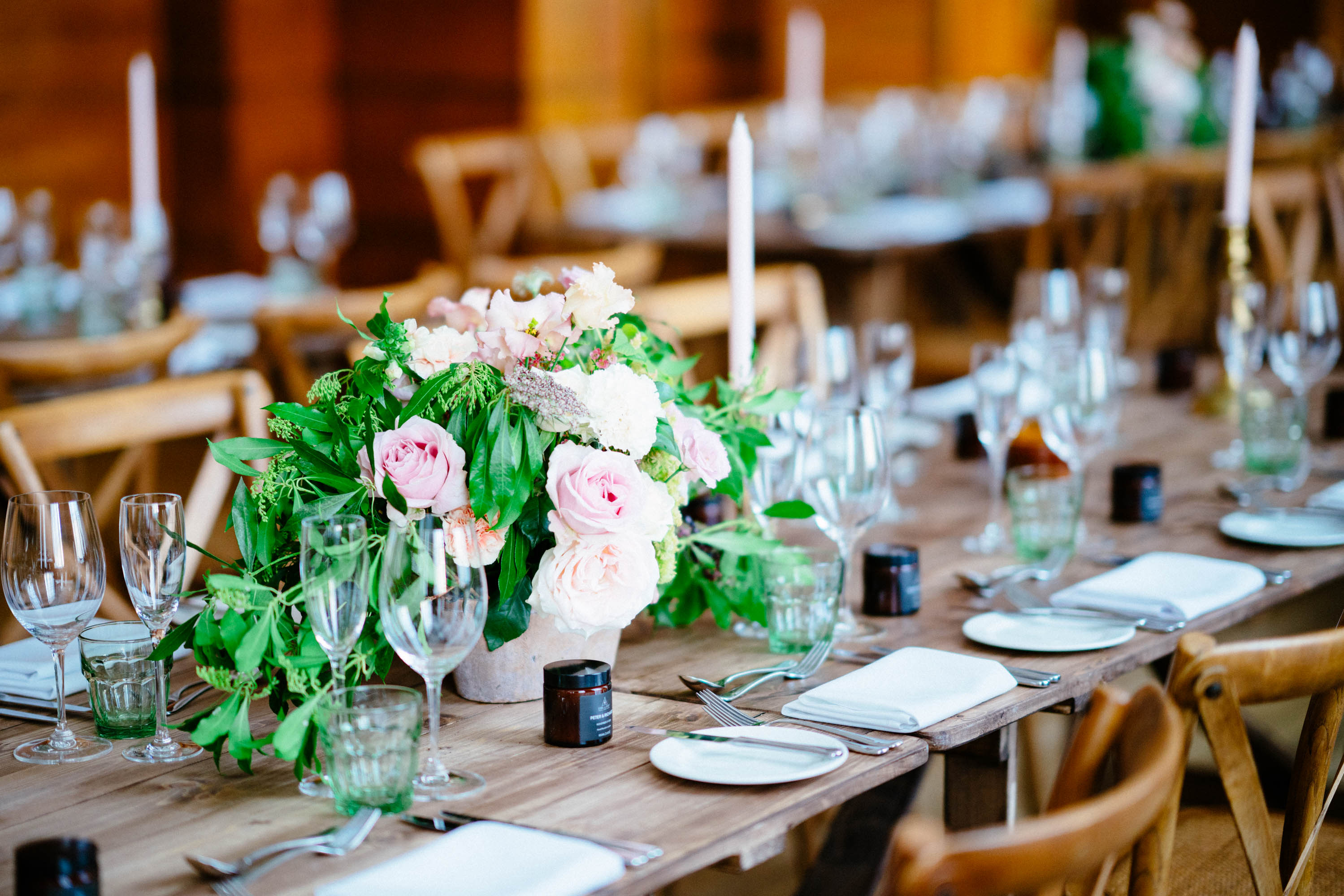 Bethnal Green Town Hotel Wedding - Rose Flower Centerpieces