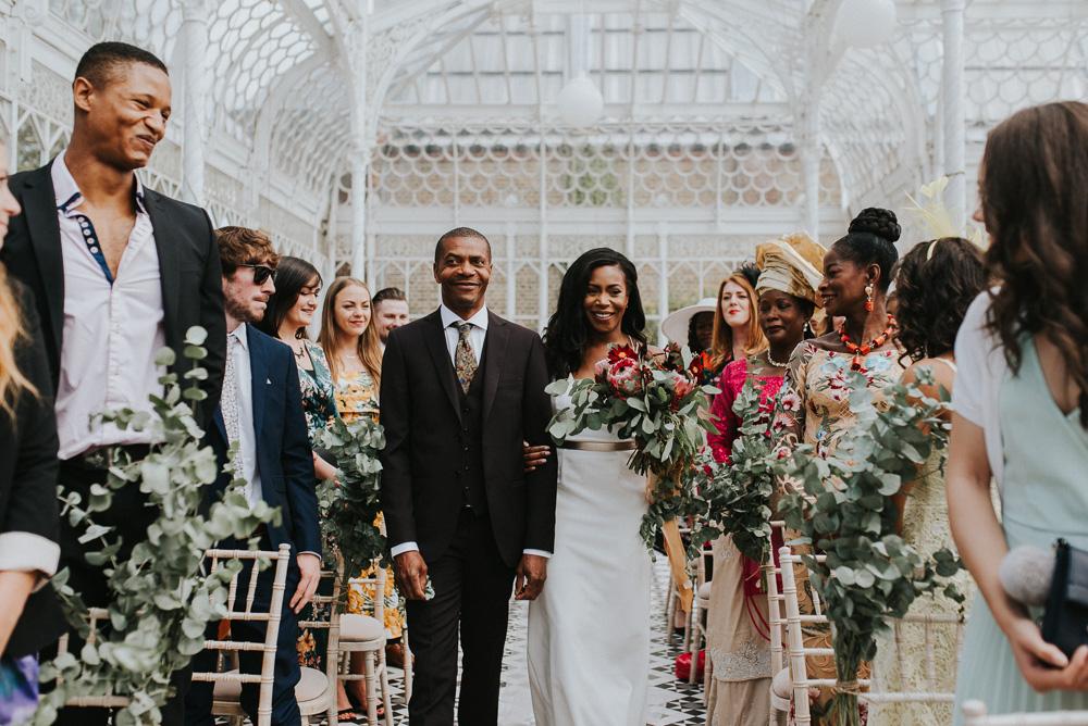 Bride with Protea Wedding Bouquet