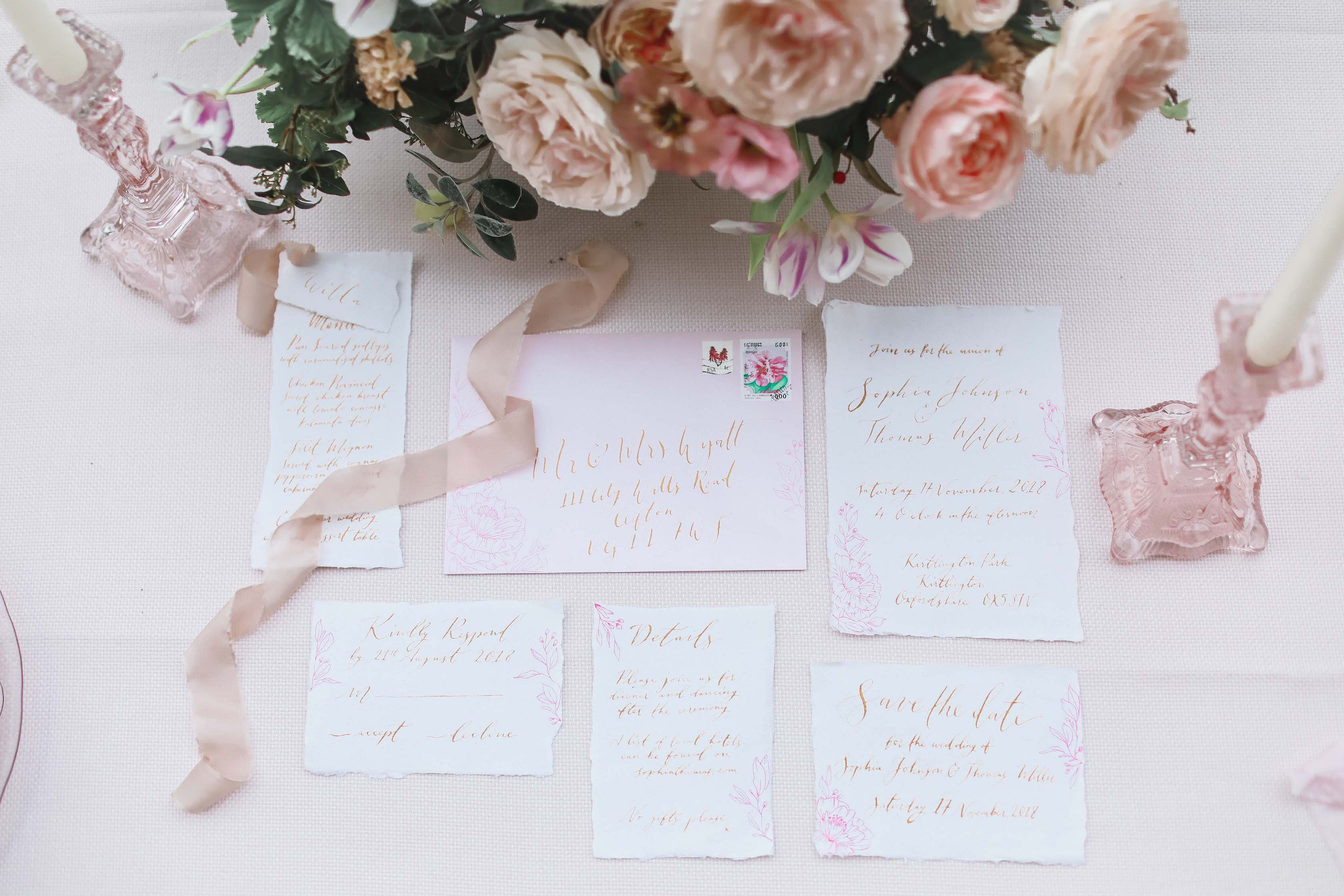 Stationery Design - Blush Pinks - Gold Caligraphy