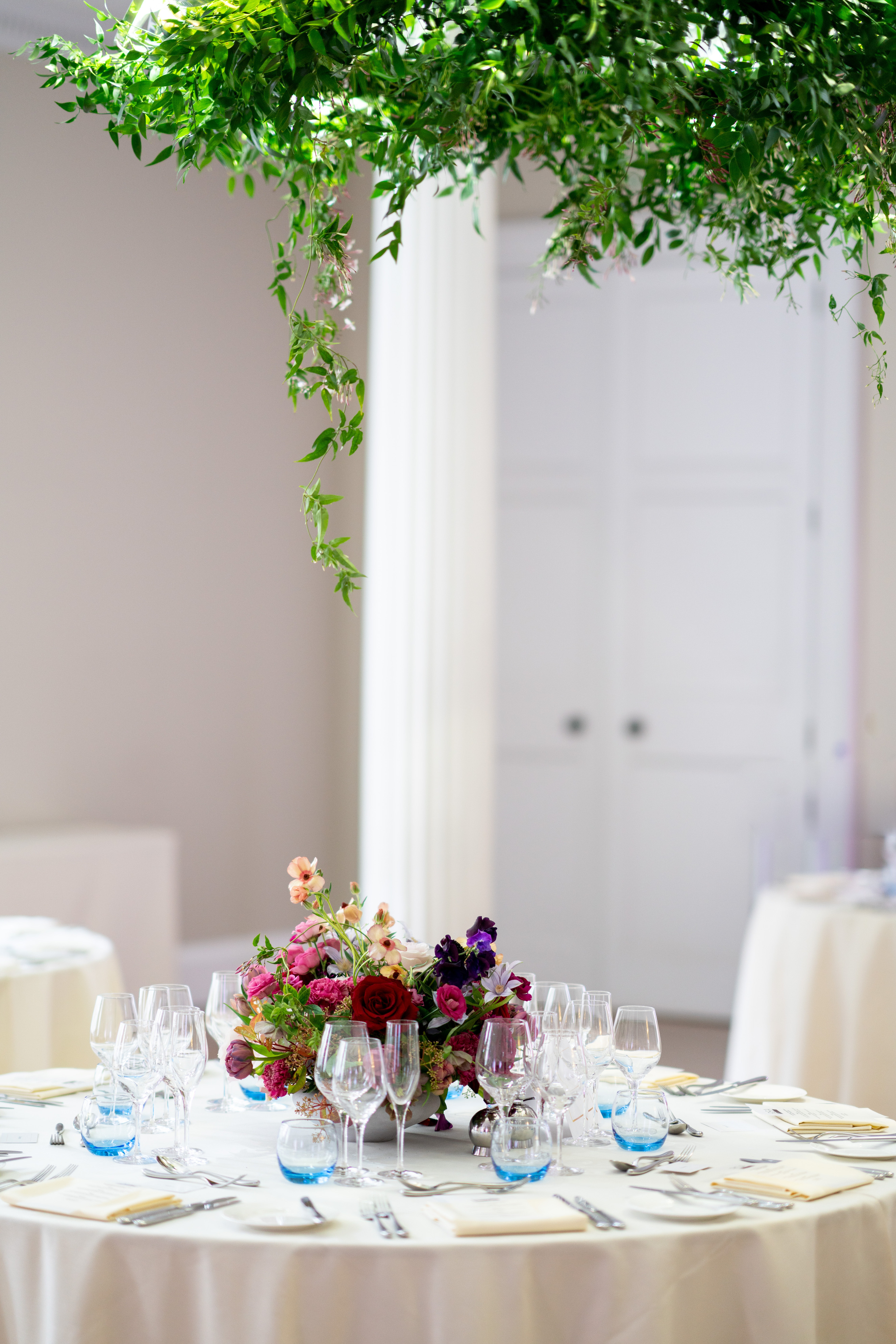 Floral Chandelier, floral installation, with trailing jasmine and a fragrant flower centrepiece